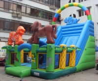 Animated slide inflatable jungle